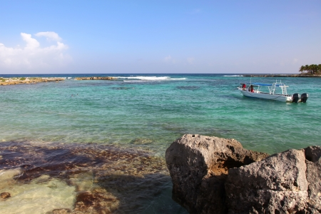Snorkeling on a rocky beach in Riviera Maya Stock Photo