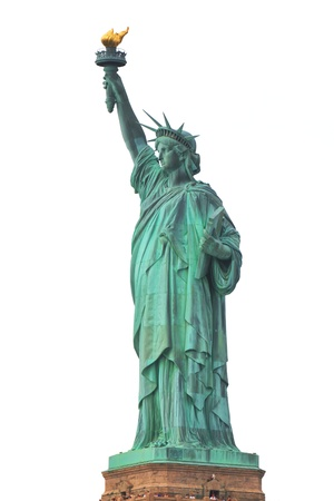 Liberty Statue isolated on white background photo