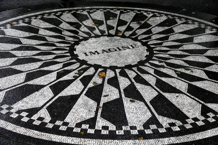Strawberry Field memorial mosaic at Central Park, New York