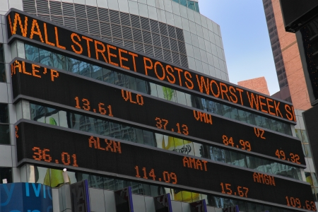 The stock market board at Times Square, New York