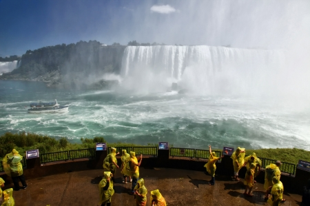 Tourists at the Horseshoe Fall, Niagara Falls, Ontario, Canada