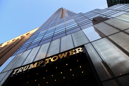 donald: The view of the Trump Tower on the blue sky background.