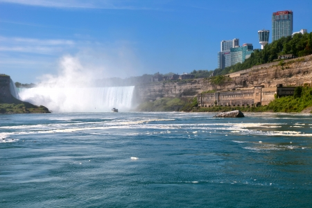 The view of Niagara Falls from the boat. Ontario, Canada