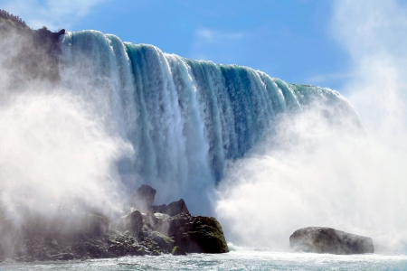 The view of Niagara Falls from the boat. Ontario