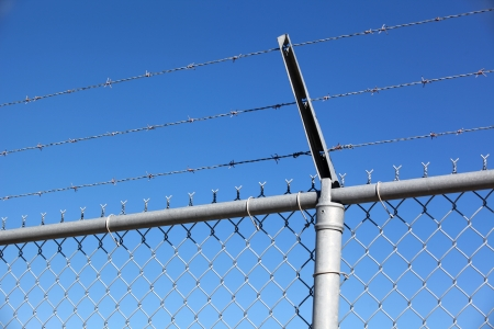 wire mesh: Barbed wire fence on the blue sky background, shallow focus