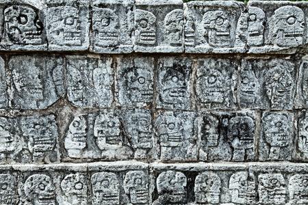 Tzompantli - Wall of Skulls, Chichen Itza, Mexico Stock Photo