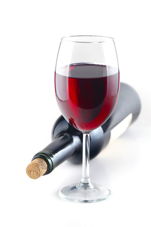 Red wine glass isolated on white, shallow focus Stock Photo