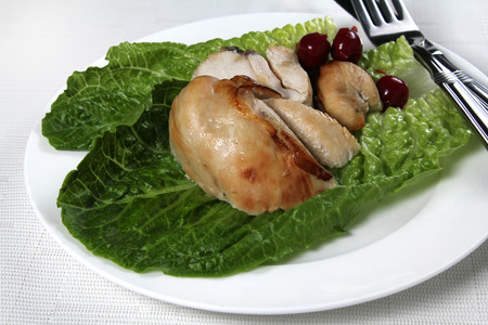 Lemon chicken snack, piece of roasted chicken breast, shallow focus