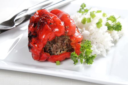 Red pepper stuffed with meat, shallow focus