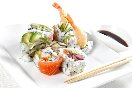 Sushi on a white plate, shallow focus