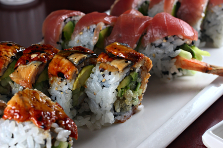 Black dragon roll sushi, shallow focus