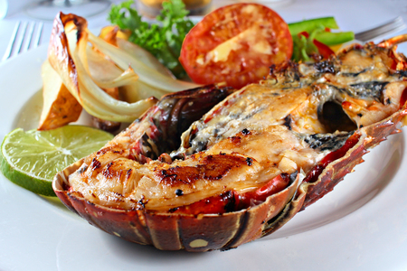 Grilled Lobster Plated with Vegetables, Shallow Focus