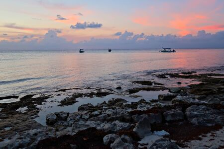 Sunset at Cozumel beach, Mexico                               Stock fotó