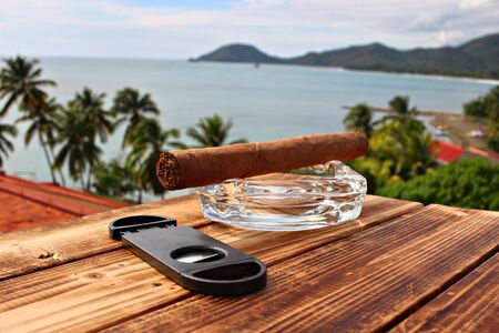 A cigar on the sea background, shallow focus