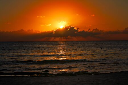 Sunset at Cozumel beach, Mexico, shallow focus