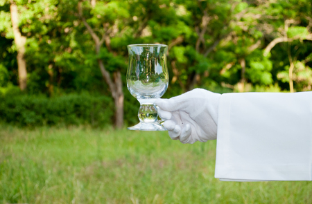 Hand of the waiter in a white glove and with a white napkin holding a glass glass for a coffee on a blurred background of nature green bushes and trees