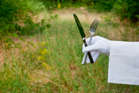Hand of a waiter in a white glove and with a white napkin holding a metal fork and a metal knife cutlery on a blurred background of nature green bushes and trees