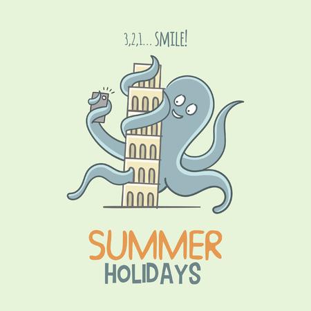 Octopus Pisa Summer Holidays Illustration