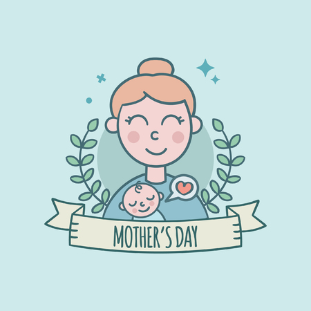 Mother's Day With Baby Greeting Card 일러스트