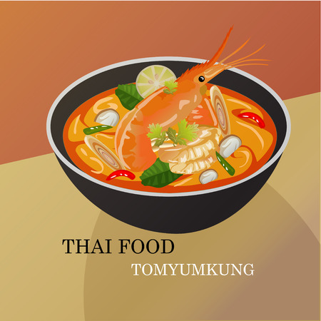 yum: Tom Yum Kung Thai spicy soup vector design