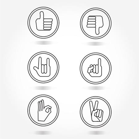 unlike: hand icon set like, unlike, love, okay, victory, reconcile symbols