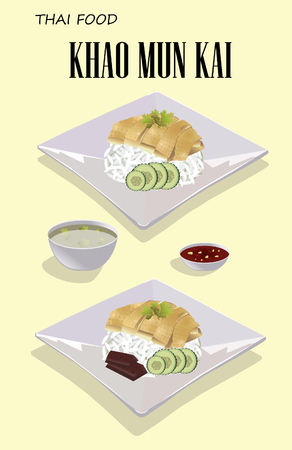 Khao Mun Kai Hainanese chicken rice steamed chicken and white rice vector Thai Food