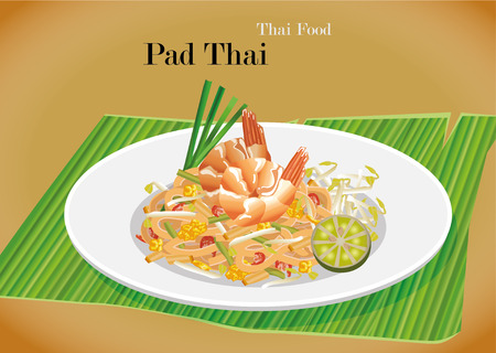 Pad Thai stir-fried rice noodle local Thailand food Illustration