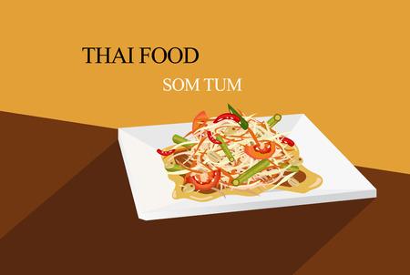 Thai papaya salad flat vector style