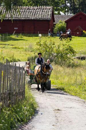 Horseride at the Open Air Museum, Västerås, Vasteras, sweden
