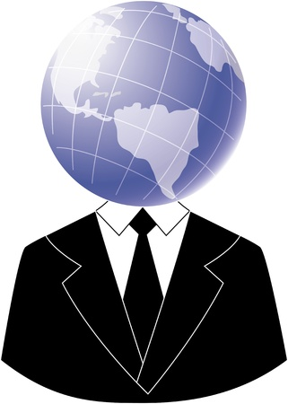Head in a globeA businessman with his head in a globeA person who knows all photo