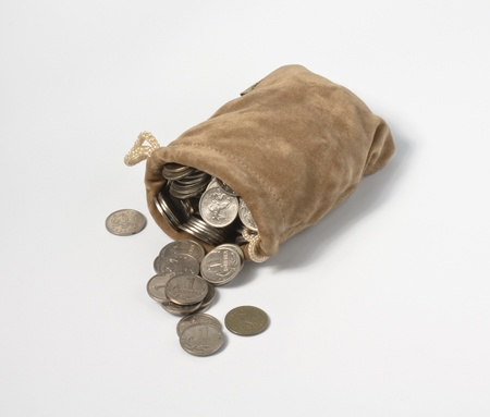 Sack with coins photo