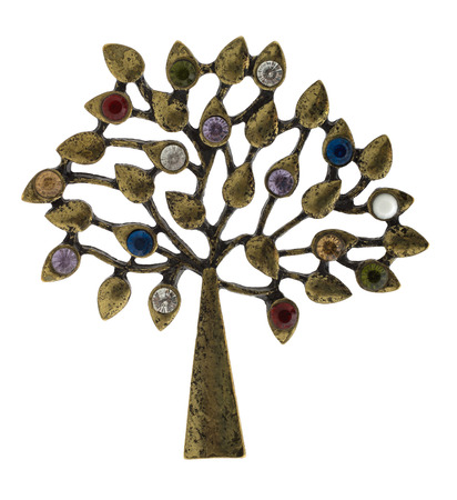 jewelle: Old brooch in the form of a tree  Stock Photo