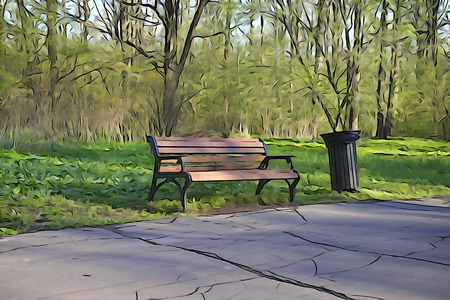 according: Bench in park drawing according to the photo. Stock Photo
