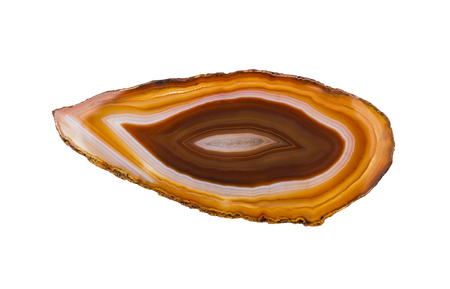 Polished agate close-up. Isolated on a white background. Stock Photo