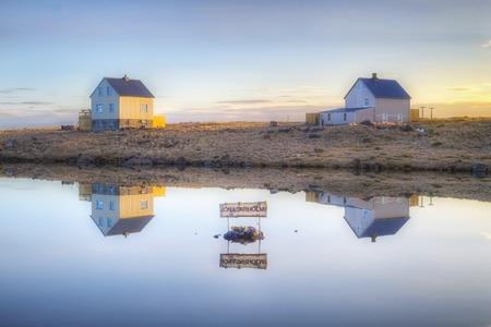 Jonasarholmi houses in Raufarhofn (Iceland). Stock Photo