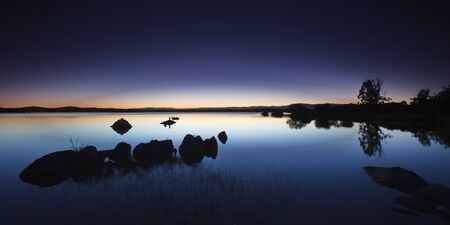 Blue hour in the Villardeciervos reservoir Stock Photo