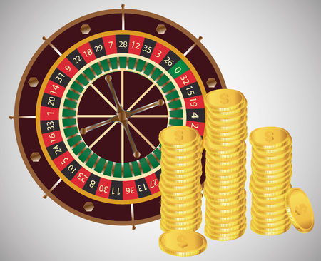 Casino golden icon isolated on white background. roulette, coins money