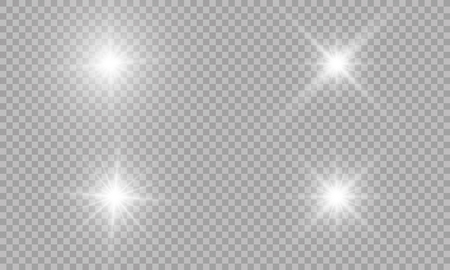 Set of glowing light effects with transparency isolated on plaid vector background. Lens flares, rays, stars and sparkles with bokeh collection