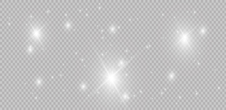 Set of glowing light effects with transparency isolated on plaid vector background. Lens flares, rays, stars and sparkles with bokeh collection 写真素材 - 102146354