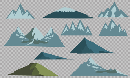 Mountains silhouettes on the white background. Vector set of outdoor design elements. Banco de Imagens - 102957734