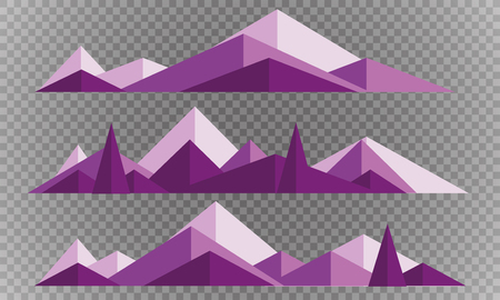 Mountains low poly style set. Polygonal mountain ridges. 일러스트