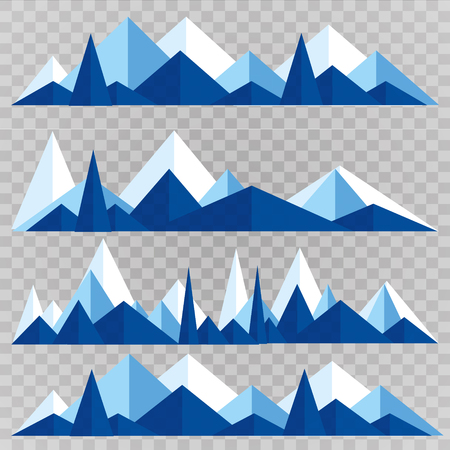 Mountains low poly style set. Polygonal mountain ridges. 向量圖像