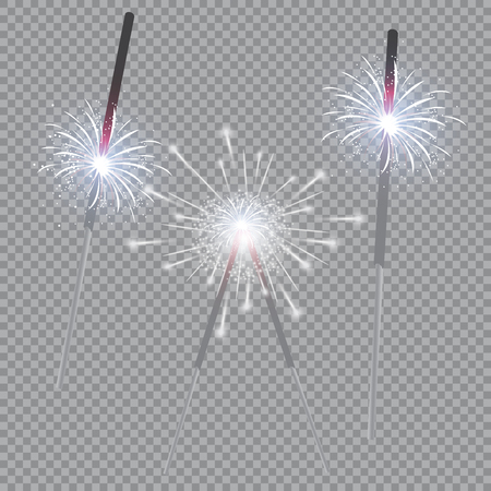 Christmas realistic bengal light effect. Isolated sparkler light vector design elements. Xmas Holiday greeting card design. Happy New Year decoration light Ilustracja