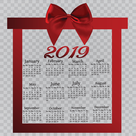 A calendar calendar, for the new year. A ribbon bow, a scroll for your concept. Greeting card brochure or banner template. Vector illustration.