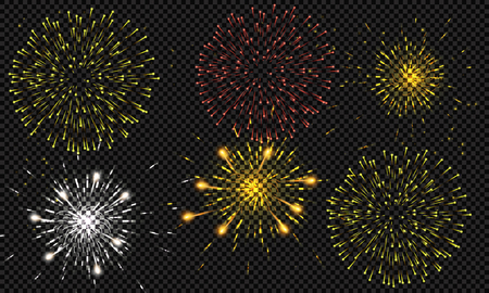 Festive patterned fireworks bursting in various forms, sparkling pictograms set against a black background Abstract. New Year and birthdays. Vector illustration Çizim