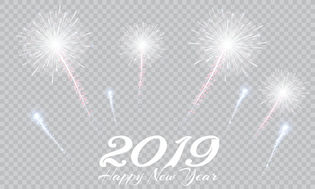 Festive patterned fireworks, bursting in various forms, sparkling pictograms Abstract. New Year and birthdays. Vector illustration