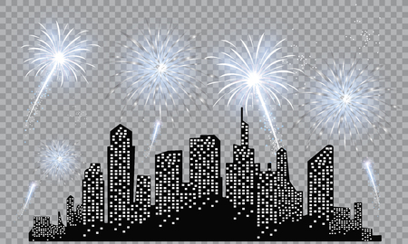 Festive patterned fireworks in the city, bursting in various forms, sparkling pictograms Abstract. New Year and birthdays. Vector illustration Çizim