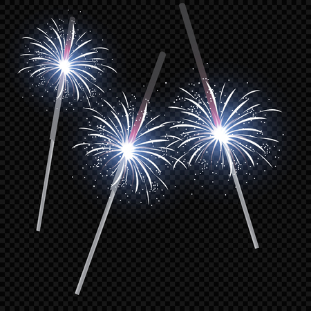 Festive patterned fireworks in the city, bursting in various forms, sparkling pictograms Abstract. New Year and birthdays. Vector illustration  イラスト・ベクター素材