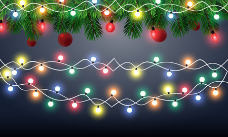 Christmas lights background with Christmas lights garland. Vector illustration  イラスト・ベクター素材