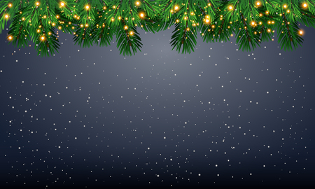 Christmas tree with beautiful lights. Branch isolated. Vector illustration on beautiful background.